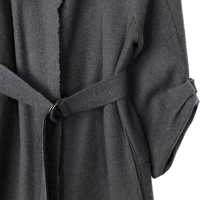 shirring sleeve belt coat charcoal